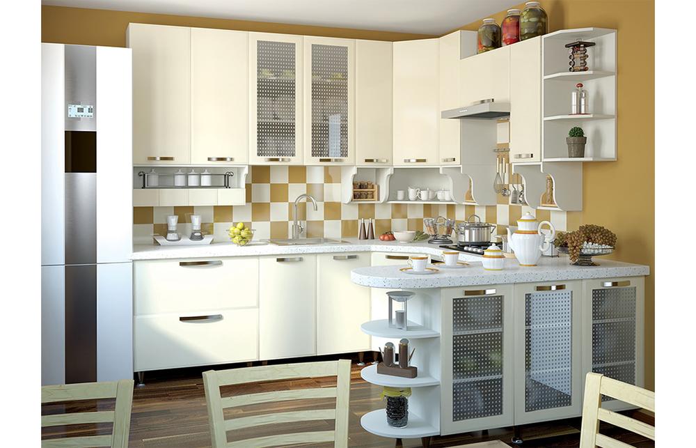 Кухня угловая «София В-1» фасад Престиж  цвет сахара глянец