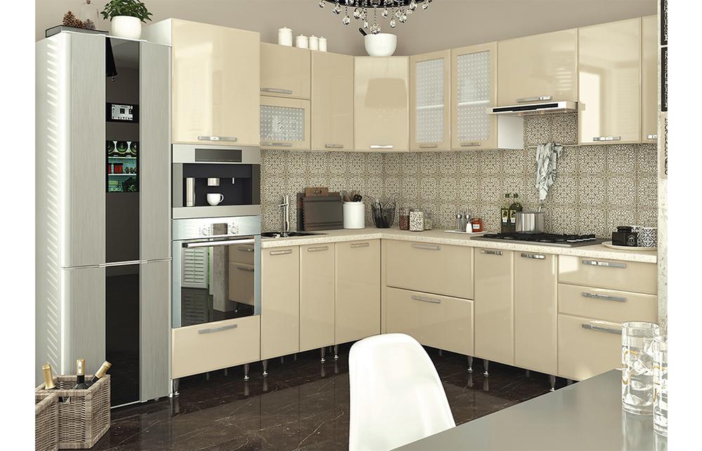 Кухня угловая «София В-2» фасад Престиж цвет сахара глянец