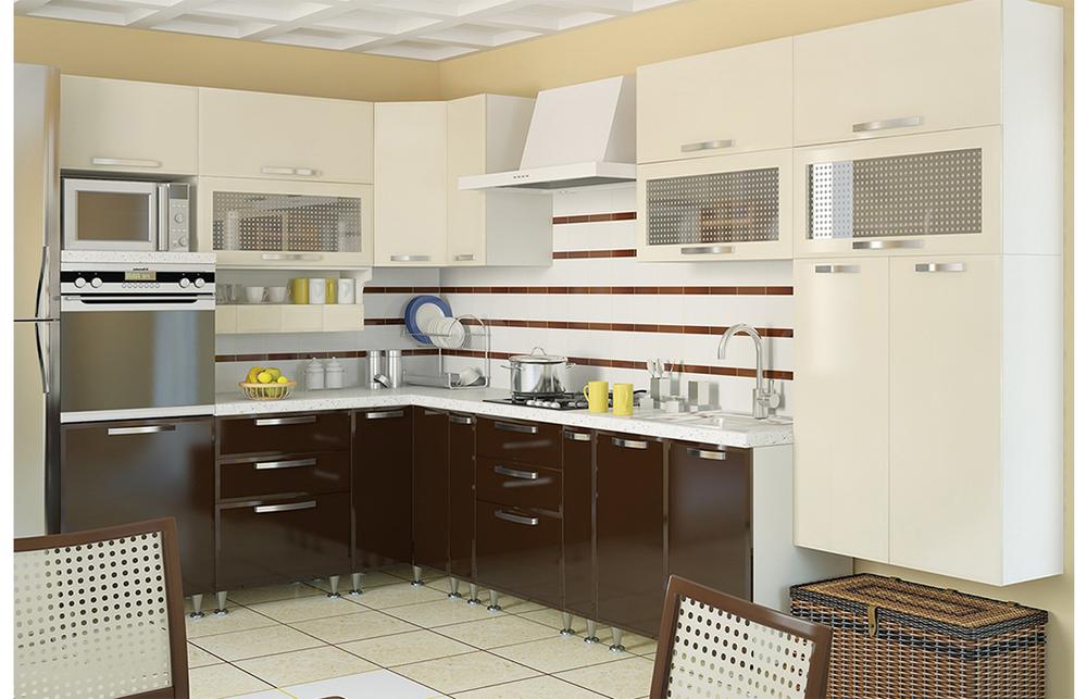 Кухня угловая «София» фасад Престиж цвет шоколад сахара