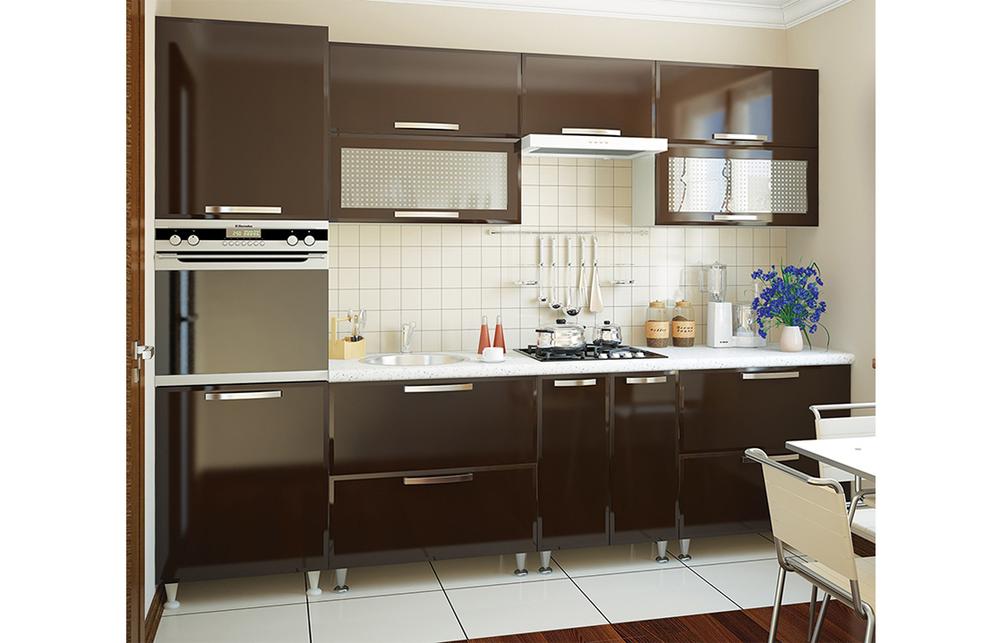 Кухня прямая «София» фасад Престиж  цвет шоколад глянец