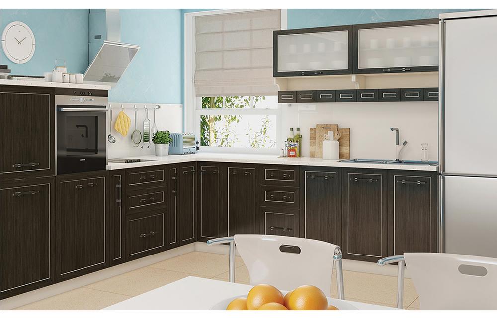 Кухня угловая «София В-1» фасад Плаза  цвет милано