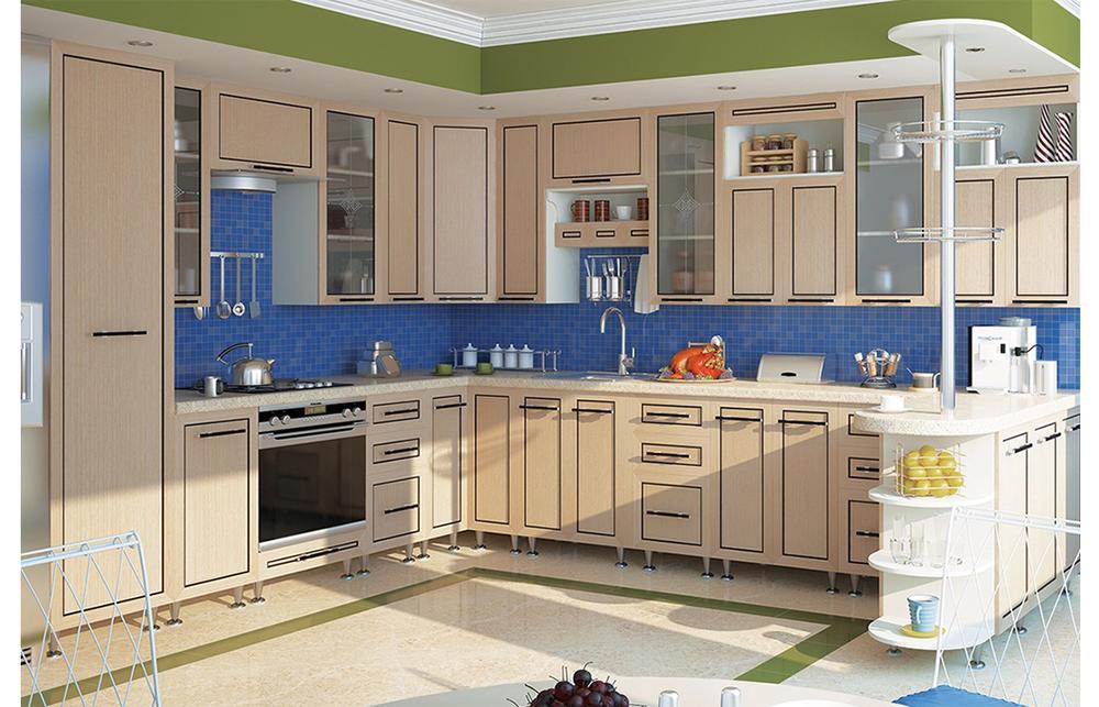 Кухня угловая «София В-6» фасад Плаза  цвет венге светлый