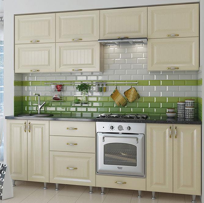 Кухня прямая «София» фасад Романтика цвет ваниль