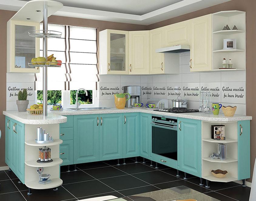 Кухня угловая «София» фасад Романтика цвет морская волна ваниль