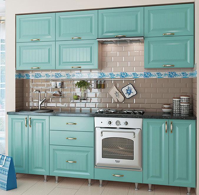 Кухня прямая «София» фасад Романтика цвет морская волна