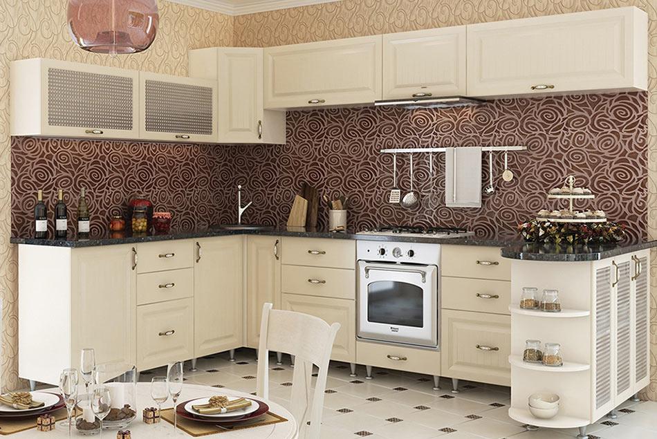 Кухня угловая «София В-1» фасад Романтика цвет ваниль