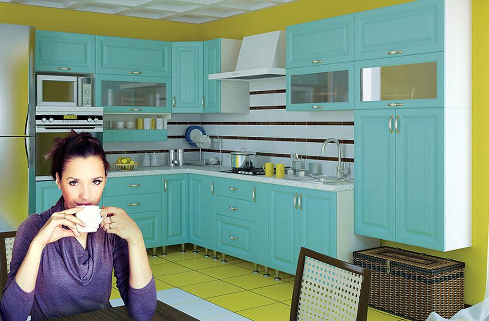 Кухня угловая «София В-1» фасад Романтика цвет морская волна