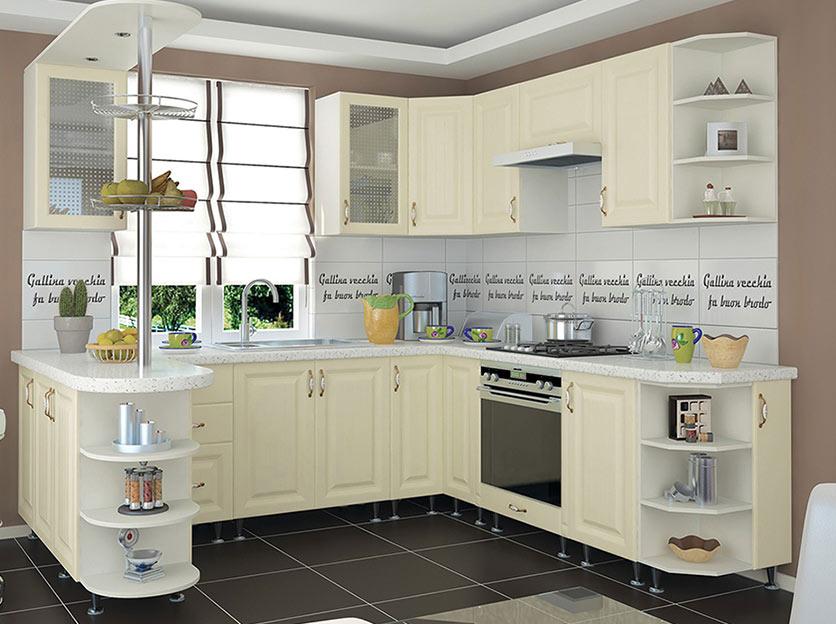 Кухня угловая «София В-2» фасад Романтика цвет ваниль