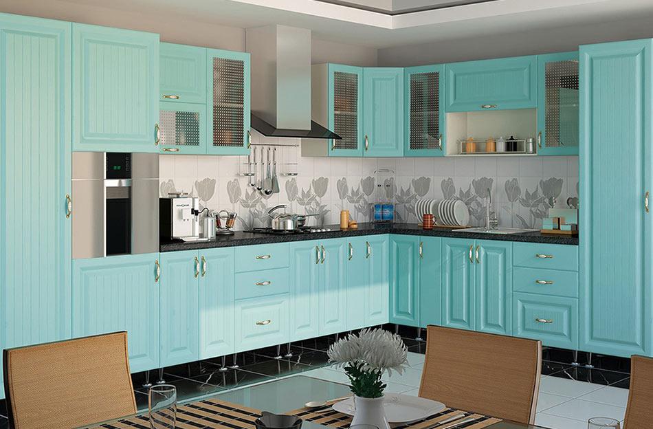 Кухня угловая «София В-2» фасад Романтика цвет морская волна
