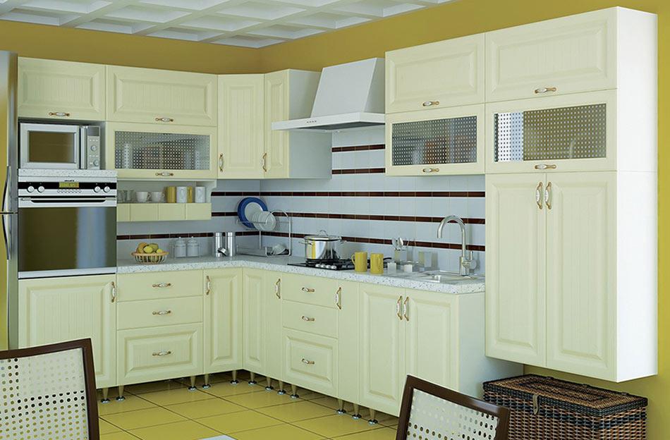 Кухня угловая «София В-3» фасад Романтика цвет ваниль