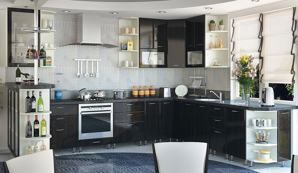 Кухня угловая «София В-1» фасад Градо цвет черный