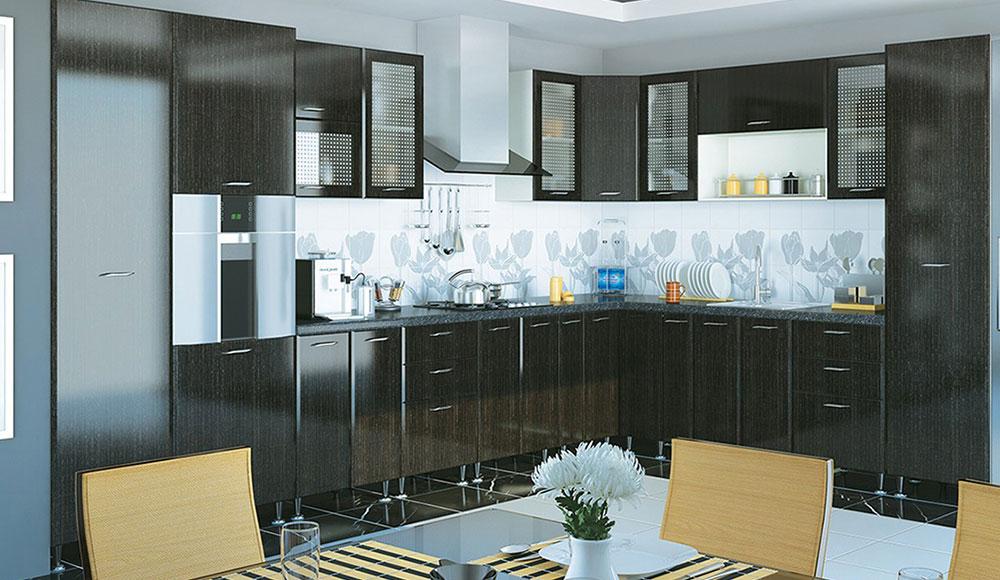Кухня угловая «София В-2» фасад Градо цвет черный