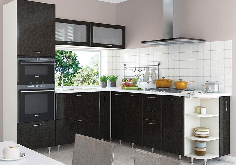 Кухня угловая «София» фасад Градо цвет черный орех