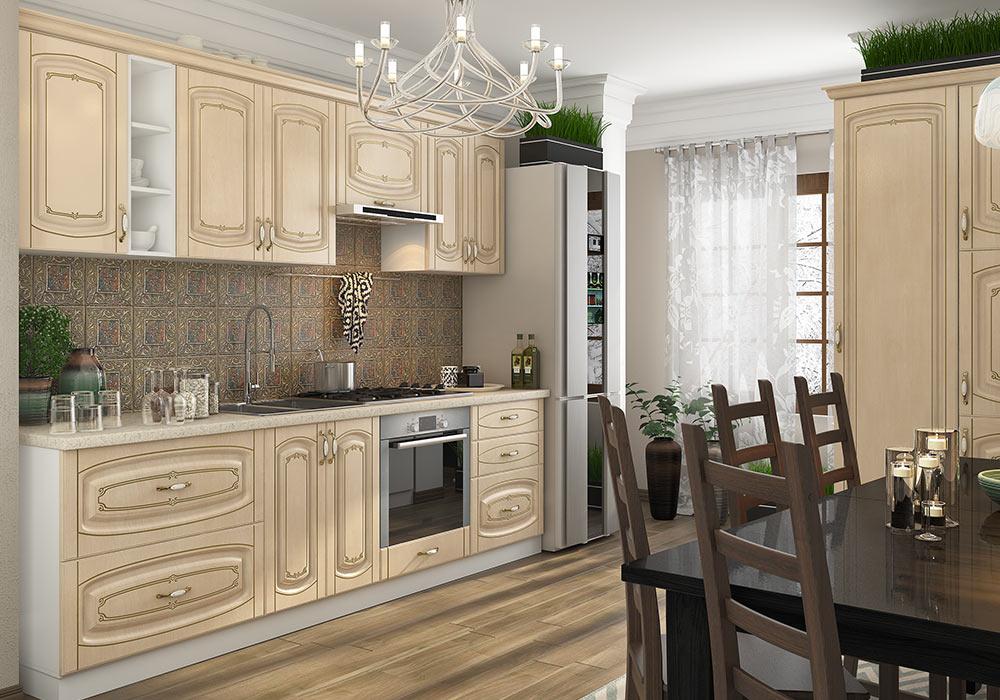 Кухня прямая «София» фасад Бавария цвет береза