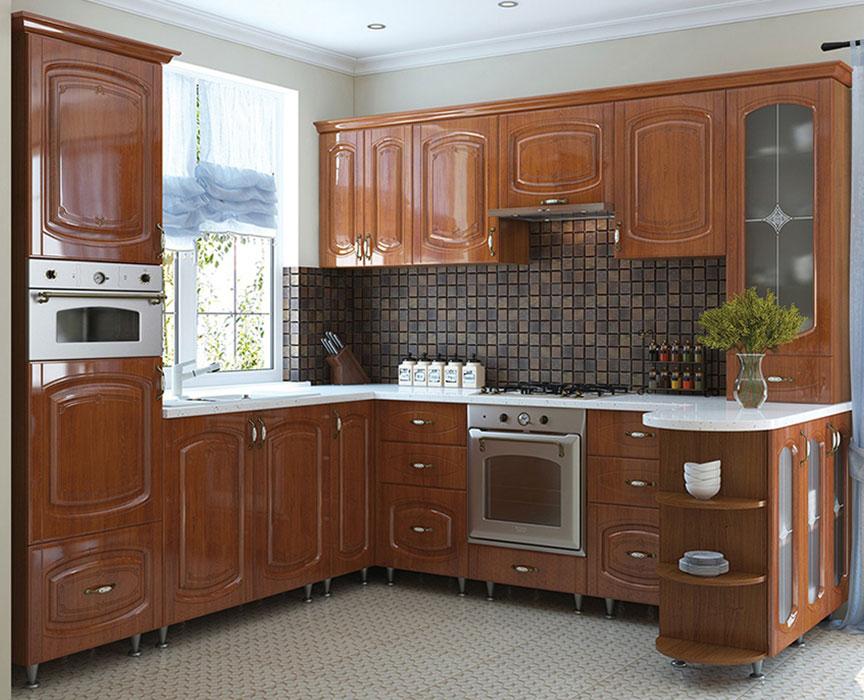Кухня угловая «София» фасад Бавария  цвет кедр