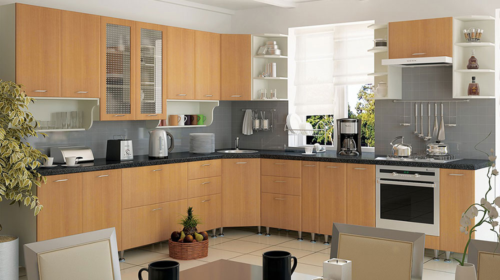 Кухня угловая «София В-4» фасад Градо цвет бук