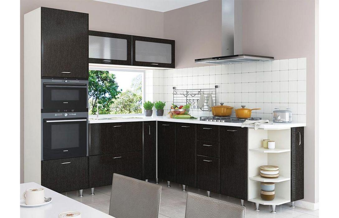 Кухня угловая «Градо черный орех 3,9м» Сокме