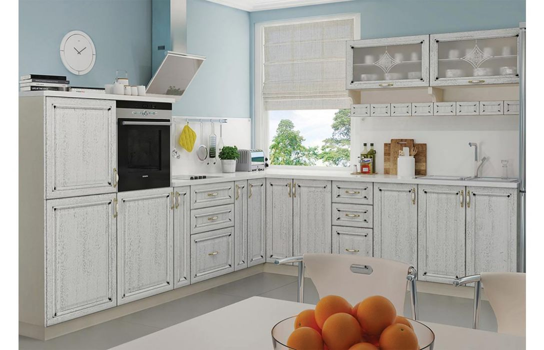 Кухня угловая «Классика шпон патина 5,9м» Сокме