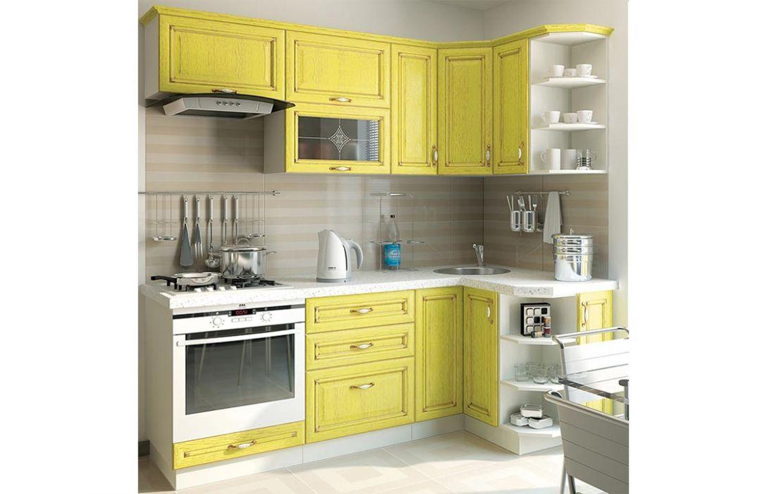 Кухня угловая «Классика шпон патина 3,3м» Сокме
