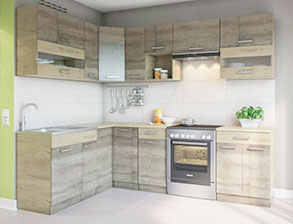 Кухня угловая  «Алина 1,7м*2,5м  дуб санома» СМ