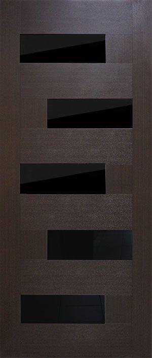Фото Двери ПВХ «Домино» 60 с черным стеклом Омис - sofino.ua