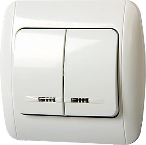 Фото Выключатель 812L«s035020» двухклавишный с подсветкой и рамкой Enext - sofino.ua