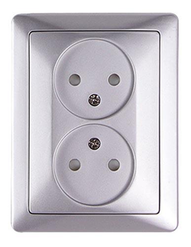 Фото Комплект розетки двойной e.lux.1222L.2gz.aluminium «ins0040105» Enext - sofino.ua