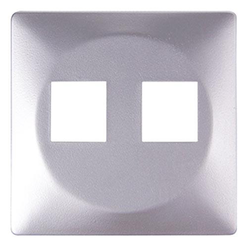 Фото Панель для двойной розетки e.lux.16121L.pn.aluminium «ins0040101» Enext - sofino.ua