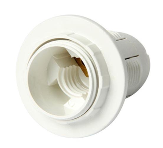 Фото Патрон пластиковый e.lamp socket.E14.pl.white «s9100006» с гайкой Enext - sofino.ua