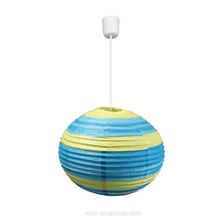 Фото Лампа подвесная 31-16068 «Kokon» 40 бумага/зелено-голубой CND - sofino.ua