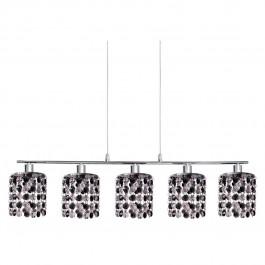 Фото Лампа подвесная 35-35724 «Royal» хрусталики, хром/черный CND - sofino.ua