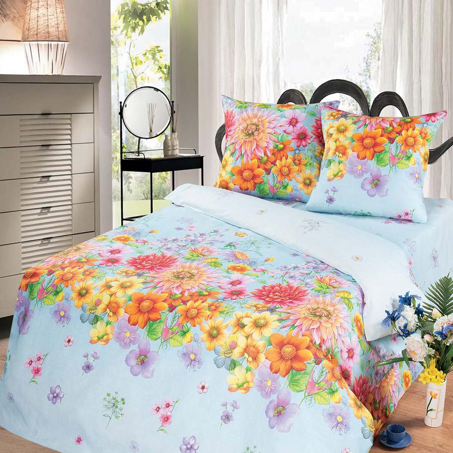 Фото Комплект «Цветочное панно» голубой двуспальный Miratex - sofino.ua