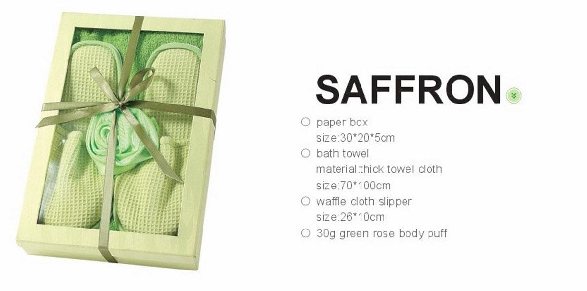 Фото Комплект для ванной (с полотенцем и тапочками) 3 пр. 1390024 «Saffron» 70*100 Arya - sofino.ua