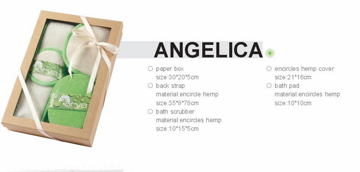 Фото Комплект для ванной 4 пр. (с мочалкой) 1390028 «Angelica» Arya - sofino.ua
