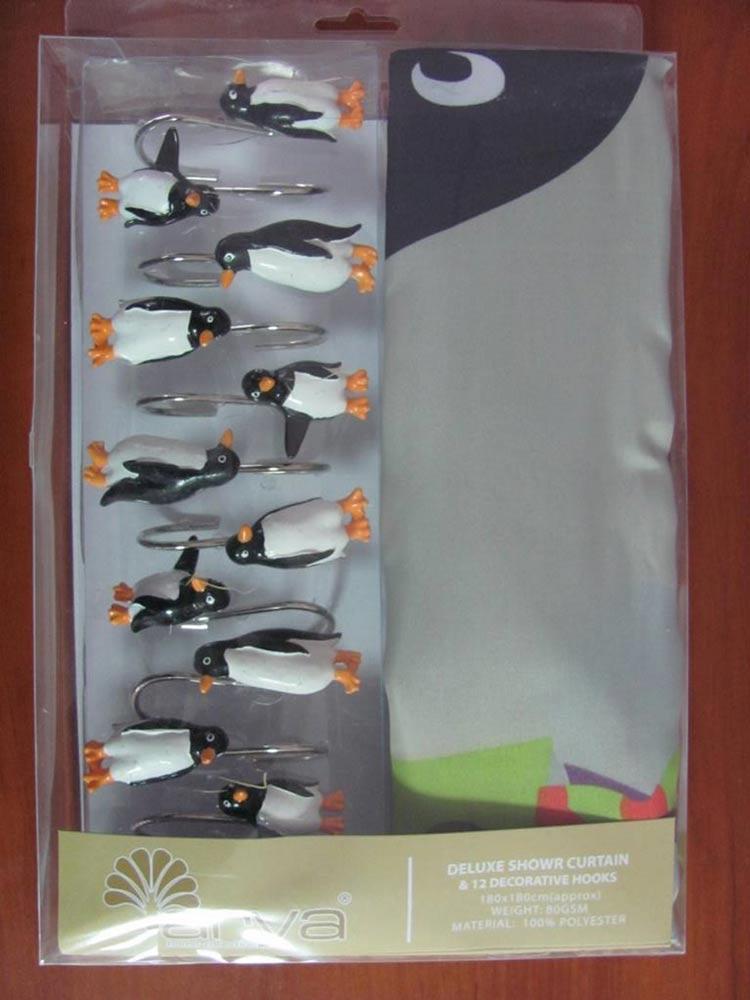 Фото Шторы для ванной «Big Penguin 1353005» 180*180 Arya - sofino.ua