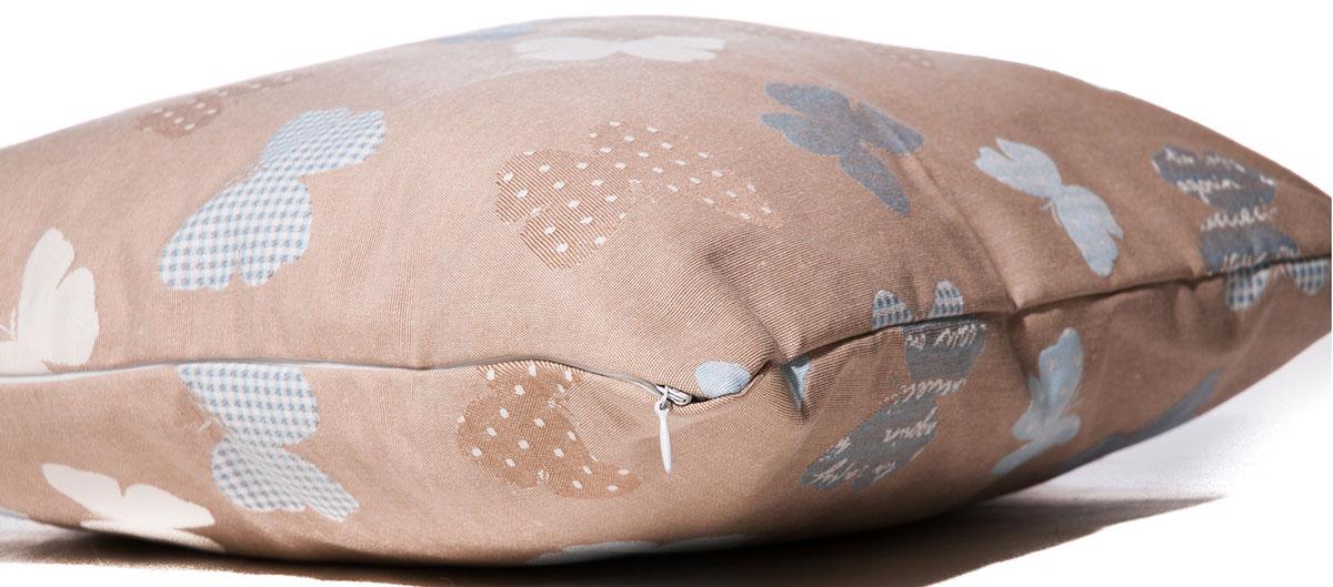 Фото Подушка с наволочкой декор «Бабочка гоблен» 40*40 бежевый Izzihome - sofino.ua