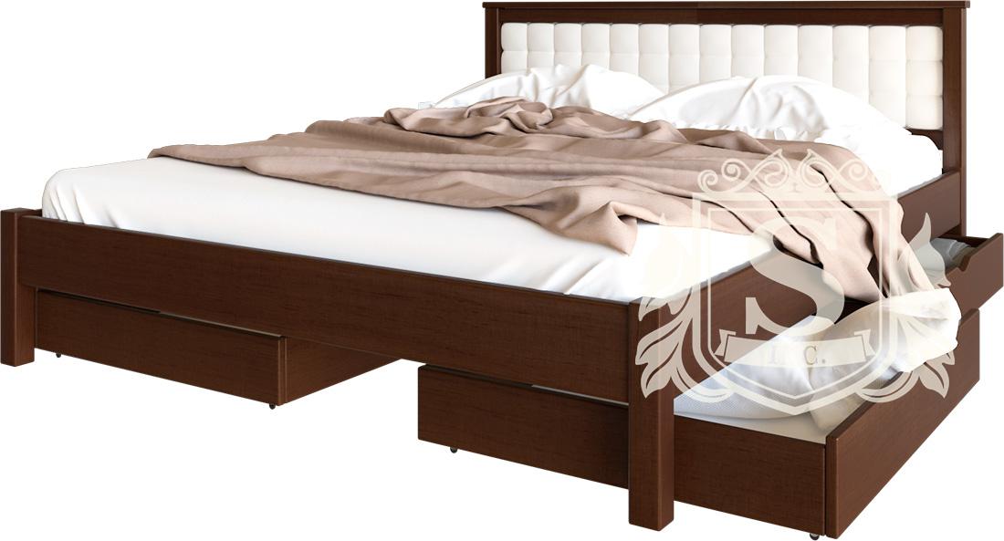 кровать двуспальная из дерева модерн мягкое изголовье с