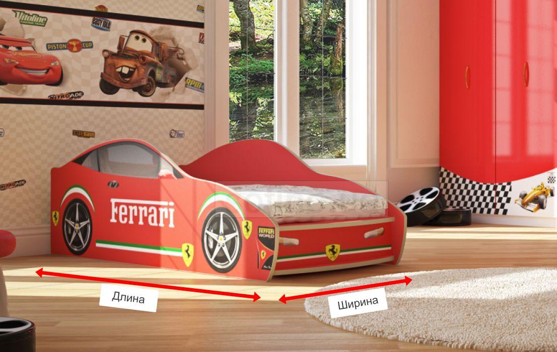 Фото 1 Кровать-машинка «Феррари» 80*190 | Артикул: 16807 - SOFINO.UA