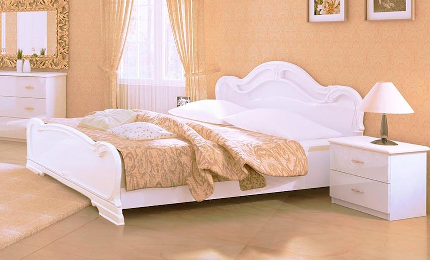Кровать «Футура» без каркаса 1,6 | Глянец белый