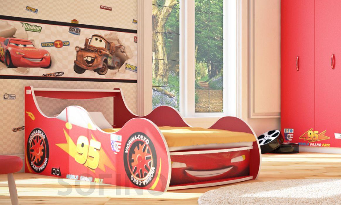 Фото 1 Кровать детская «Драйв Д-0001 | Тачки красный» 70*140 | Код товара: 18158 - SOFINO.UA