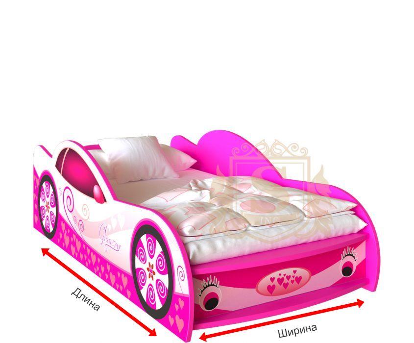 Фото 1 Кровать-машинка «Гламур» цвет: розовы | 60*120 | Код товара: 18223 - SOFINO.UA