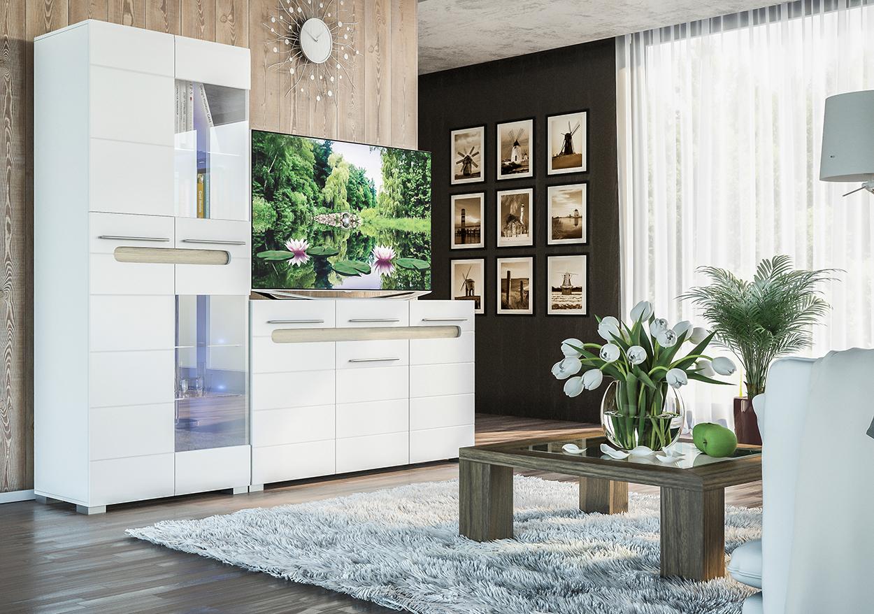 Гостиная «Бьянко 2» белый глянец | дуб сонома