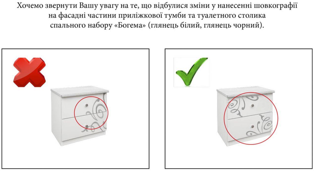 Фото 1 Тумба прикроватная «Богема» | Глянец белый MiroMark - SOFINO.UA