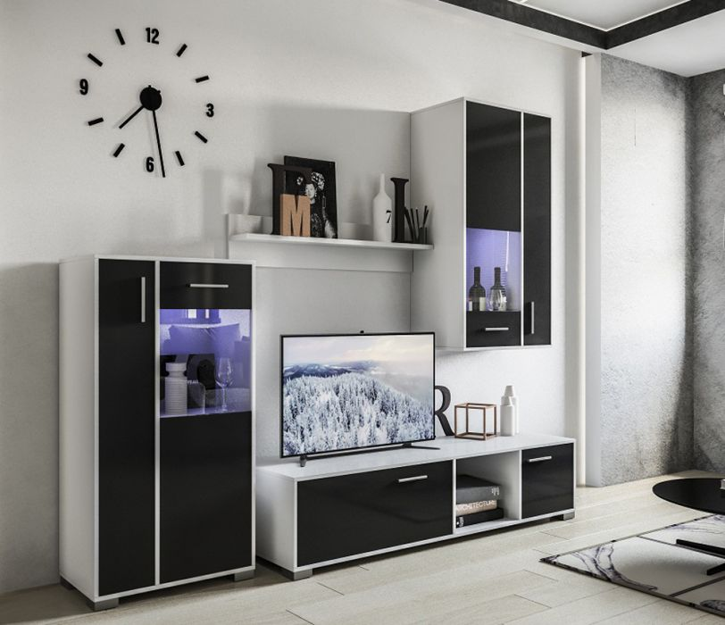 Стенка ТВ с подсветкой «Бруклин» белый глянец | черный глянец