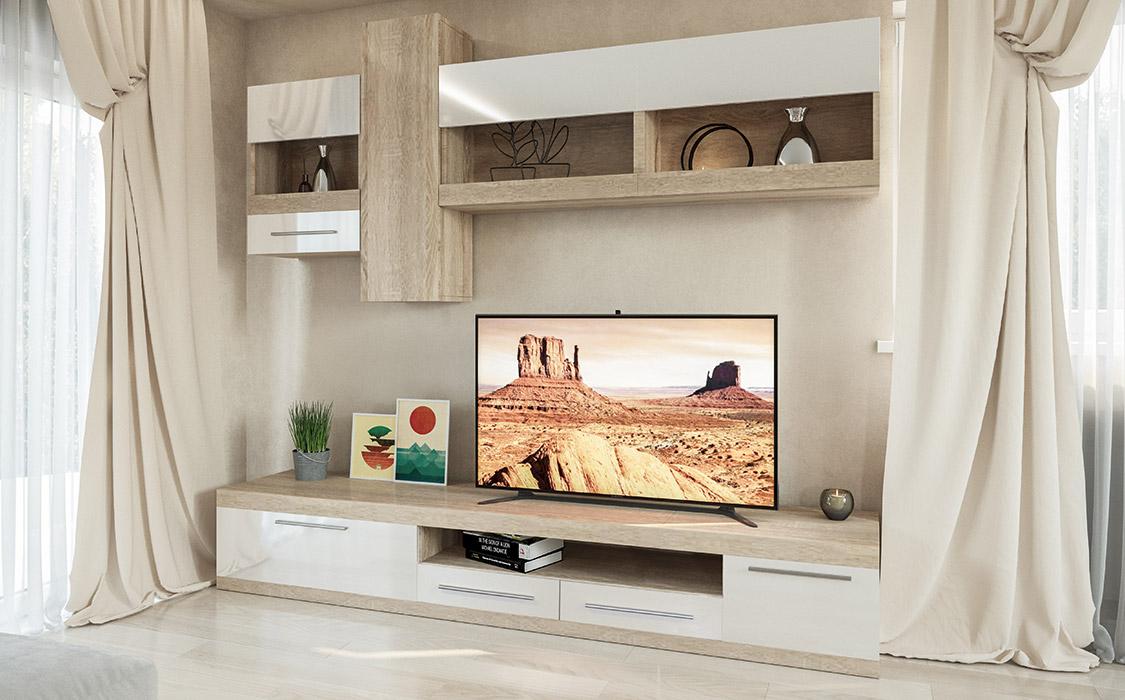 Фото Стенка ТВ «Пальмира» дуб сонома | белый лак - SOFINO.UA
