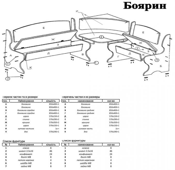 Фото 2 Кухонный уголок «Боярин» с табуретами и простым столом 80*80 | Код товара: 252768 - SOFINO.UA