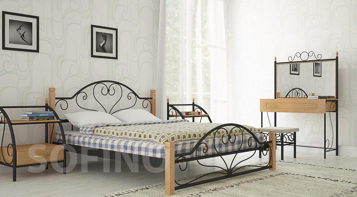 Фото Кровать «Джоконда деревянные ножки» 140*190 Металл - Дизайн - sofino.ua