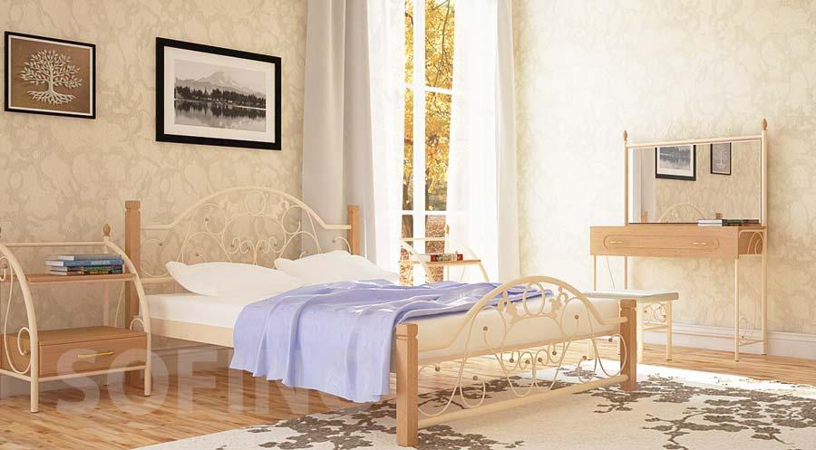 Фото Кровать «Франческа деревянные ножки» 140*190 Металл - Дизайн - sofino.ua