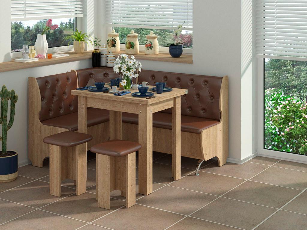 Фото Кухонний куток «Адмірал» з 2 табуретами та простим столом 80*60 Розпродажна позиція - SOFINO.UA