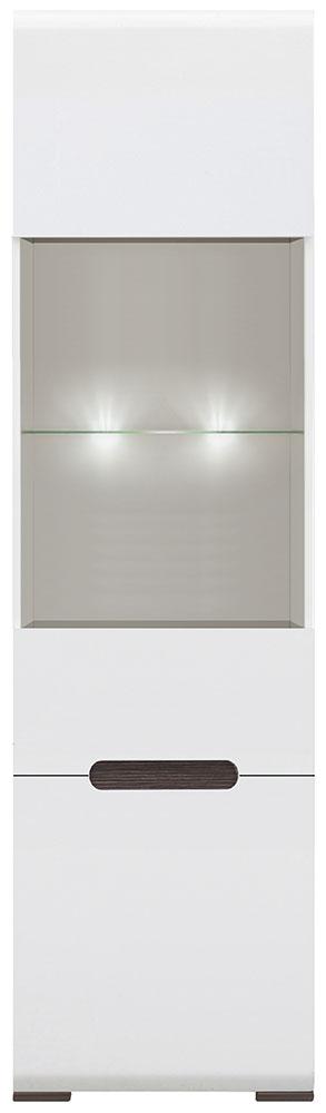 Витрина REG1W1D/21/6 с подсветкой «Ацтека» | Нимфея Альба | Белый глянец
